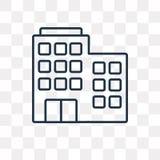 Gebouwen vectordiepictogram op transparante lineaire achtergrond wordt geïsoleerd, stock illustratie