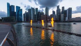 Gebouwenhorizon in bedrijfsdistrict Marina Bay Singapore wordt beschouwd als een globale financiële hub Royalty-vrije Stock Afbeelding
