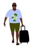 Gebräunter glücklicher Tourist in der Sonnenbrille kommt mit einem Kofferisolat vektor abbildung