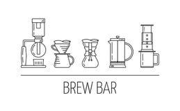 Gebräustange Stellen Sie schwarze Linie Ikonen des Vektors von Kaffeebrauverfahren ein Druckdose, gießen vorbei, chemex, Franzose lizenzfreie abbildung