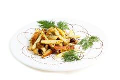 Gebraden aardappel met paddestoelen Stock Foto