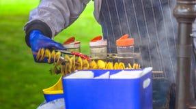 Gebraden aardappels in de vorm van spiraal op houten stok De aardappels braadden tot de gouden kleur op metaaldienblad tijdens pi stock foto