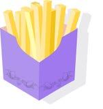 Gebraden aardappels in een kartondoos Stock Foto