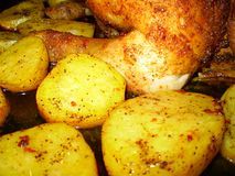Gebraden aardappels met kip Royalty-vrije Stock Afbeeldingen