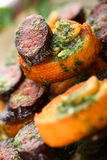Gebraden baguetteplakken met chorizo Stock Foto's