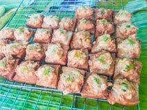 Gebraden brood met fijngehakt uitgespreid varkensvlees Royalty-vrije Stock Afbeelding