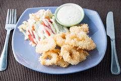 Gebraden calamari, Fried Squid Stock Afbeelding