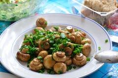 Gebraden champignonpaddestoelen met groene ui Royalty-vrije Stock Fotografie