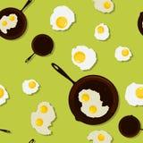 Gebraden ei in een pan. Stock Fotografie