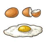 Gebraden ei en gebroken shell De uitstekende illustratie van de kleurengravure Stock Fotografie