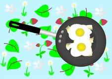Gebraden eieren. stock illustratie