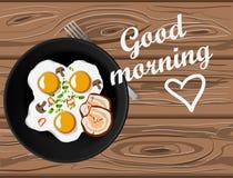 Gebraden eieren en bacon hoogste mening over houten lijst met goedemorgen het van letters voorzien stock illustratie