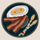 Gebraden eieren met bacon stock illustratie