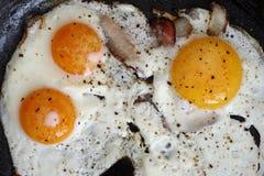 Gebraden eieren met bacon op de pan - hartelijk ontbijt Stock Fotografie