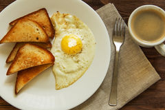 Gebraden eieren met toost Royalty-vrije Stock Foto