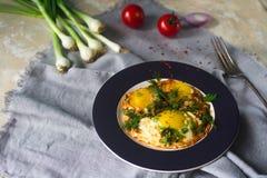 Gebraden eieren op de plaat met kersentomaten, kruiden en groene uien in rustieke stijl Gezond ontbijt, selectieve nadruk Stock Afbeelding