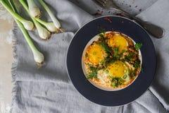 Gebraden eieren op de plaat met kersentomaten, kruiden en groene uien in rustieke stijl, hoogste mening Stock Fotografie