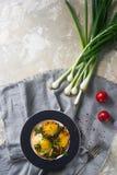 Gebraden eieren op de plaat met kersentomaten, kruiden en groene uien in rustieke stijl, hoogste mening, ruimte voor tekst Royalty-vrije Stock Afbeeldingen
