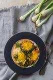 Gebraden eieren op de plaat met kersentomaten, kruiden en groene uien in rustieke stijl, hoogste mening Voedzaam organisch ontbij Stock Afbeeldingen