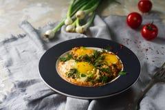 Gebraden eieren op de plaat met kersentomaten, kruiden en groene uien in rustieke stijl Voedzaam organisch ontbijt Stock Afbeelding