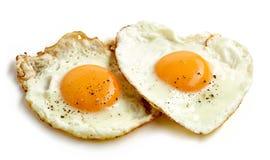 Gebraden eieren op witte achtergrond Royalty-vrije Stock Fotografie