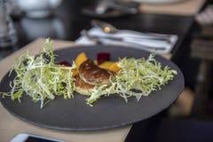 Gebraden foie gras op plaat royalty-vrije stock foto
