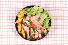 Gebraden gemengde groente met het varkensvlees van Korea Stock Afbeeldingen