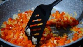 Gebraden gerecht in een panpeper met uien Sluit omhoog stock footage