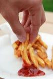 Gebraden gerechten in ketpchup Stock Afbeeldingen