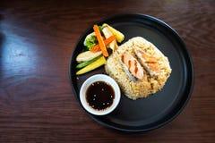 Gebraden Geroosterde rijst en Makreel Japanse Stijl royalty-vrije stock foto's
