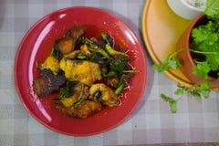 Gebraden katvis knapperig met Spaanse peper en zoet basilicum Royalty-vrije Stock Afbeelding