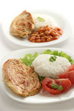 Gebraden kip met gekookte rijst Royalty-vrije Stock Afbeelding