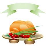 Gebraden kip met groenten en hete kruiden Stock Fotografie