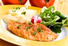 Gebraden kotelet - schnitzel - met puree en salade Royalty-vrije Stock Afbeelding
