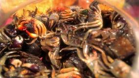 Gebraden krabben, Thais stijlvoedsel in straatmarkt  stock footage