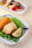 Gebraden Maïskolf en Salade Rinforzo Stock Foto's