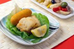 Gebraden Maïskolf en Salade Rinforzo Stock Afbeeldingen