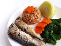 Gebraden makreel met de saus van het garnalendeeg Stock Foto