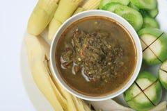 Gebraden makreel met de saus van het garnalendeeg Royalty-vrije Stock Afbeelding
