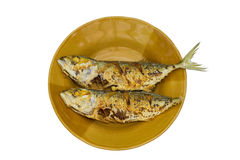Gebraden makreel op witte achtergrond Royalty-vrije Stock Foto's