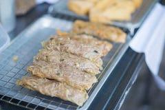 Gebraden noedelbroodje, gebraden Tofu en knapperige gebraden graanbal, Vegetarisch voedsel Royalty-vrije Stock Fotografie
