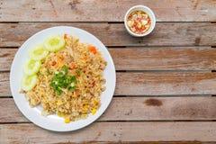 Gebraden rijst en varkensvlees Stock Afbeelding