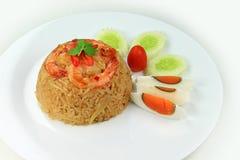 Gebraden rijst met de garnalen van de Spaanse peperboot Royalty-vrije Stock Fotografie