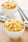 Gebraden rijst met garnaal en krab Stock Afbeelding