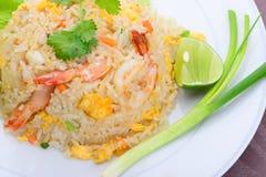 Gebraden rijst met garnalen Royalty-vrije Stock Afbeelding