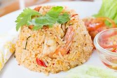 Gebraden rijst met garnalen Royalty-vrije Stock Foto