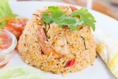 Gebraden rijst met garnalen Stock Fotografie