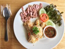 Gebraden rijst met geroosterd varkensvlees en de kruidige Thaise saus van de stijlonderdompeling Stock Afbeelding