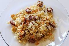 Gebraden rijst met groenten en eieren (Chinese keuken) Royalty-vrije Stock Fotografie