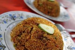 Gebraden rijst met kip Stock Foto